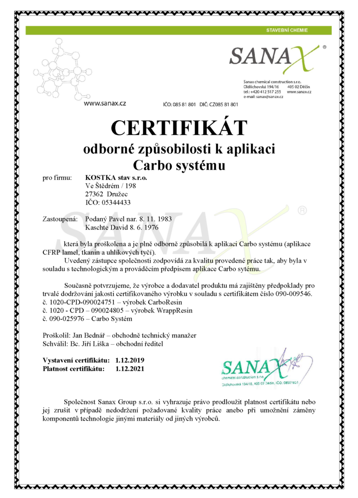 kostkastav certifikat carbo system